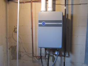 image of installed tankless water heater system